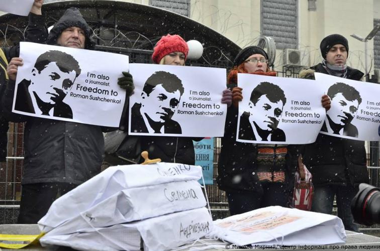 Activists hold rally near Russian Embassy in Kyiv, demanding to close criminal cases against Ukrainian journalists