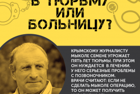 Prison cell or hospital bed? - Infographics in support of Crimean journalist Semena